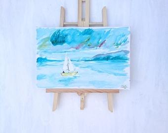 Abstract Hand Painted - Sail Boat at Sea.