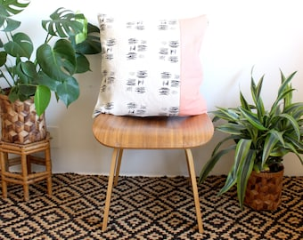 Black Abstract Print Pillow, Pastel Pink Color Block, Printed Linen Throw Pillow, Geometric 20 inch Pillow Case, Minimalist Modern Home