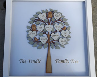 Personalised Family Tree, 3D Family Trees, Anniversary Tree, Family Art, Family Tree Gift, Custom FamilyTree, Family Picture Frame,