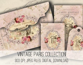 Paris Envelopes, Tags & Cards Digital Collage Sheet Download -1153- Digital Paper - Instant Download Printables