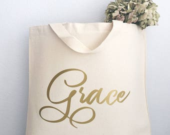 Custom Tote Bags -  Gold Foil Name - Personalized Tote Bags - Personalized Bridesmaids gifts