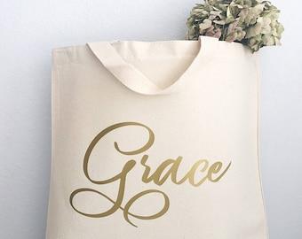 Cabas personnalisé - cadeaux personnalisé nom de feuille d'or - cabas personnalisé - les demoiselles d'honneur