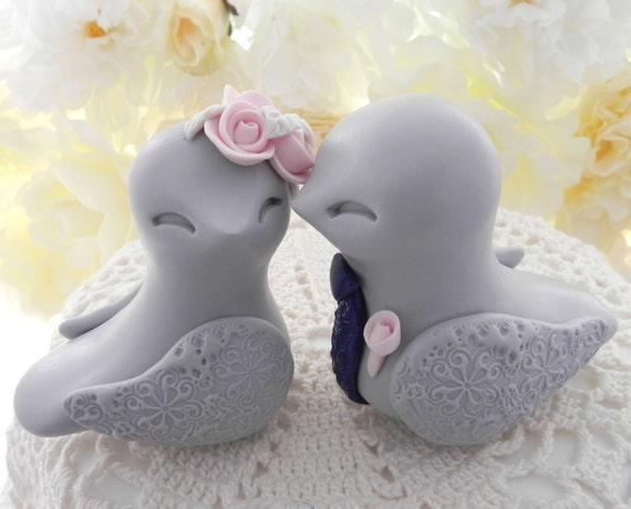 Love Birds Wedding Cake Topper, Light Grey, Blush Pink, Navy and Ivory - Bride and Groom Keepsake, Fully Custom