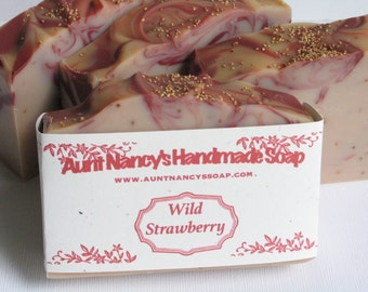 Wild Strawberry Handmade Soap - Fragrant Bath Soap - Red Swirls - Strawberry Seeds for Exfoliating - Farm Fresh Scent - Mild Olive Oil Soap