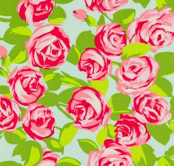 Fabric flowers floral fabric Miller coupon blue roses