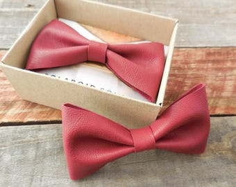 Berry Red Leather Bowtie, Wedding Bowtie, Mens Bowtie, Boys Bowtie, Berry Leather, Red Leather, Bowtie for Men, Leather Bow Tie