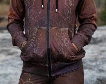 QUEEN BEE Women's Hoodie sweatshirt / festival hoodie / geometric hoodie / sacred geometry hoodie / Bee hoodie