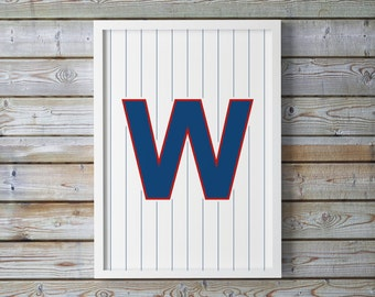 Printable CHICAGO CUBS WIN - Pinstriped 'W' Baseball Print