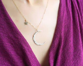 Collier croissant de lune et étoile, nouvelle lune collier, collier lune et étoile, bijoux céleste, collier croissant de lune