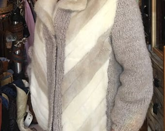 Vintage Mink and Wool Knit Jacket Cardigan Cream and Tan Fur Coat Women's Size Medium
