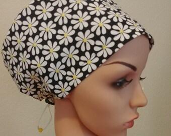 Women's Surgical Cap, Scrub Hat, Chemo Cap, Whimsical Daisies