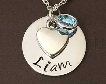 personalize name necklace - heart  necklace -  birthstone necklace - gift
