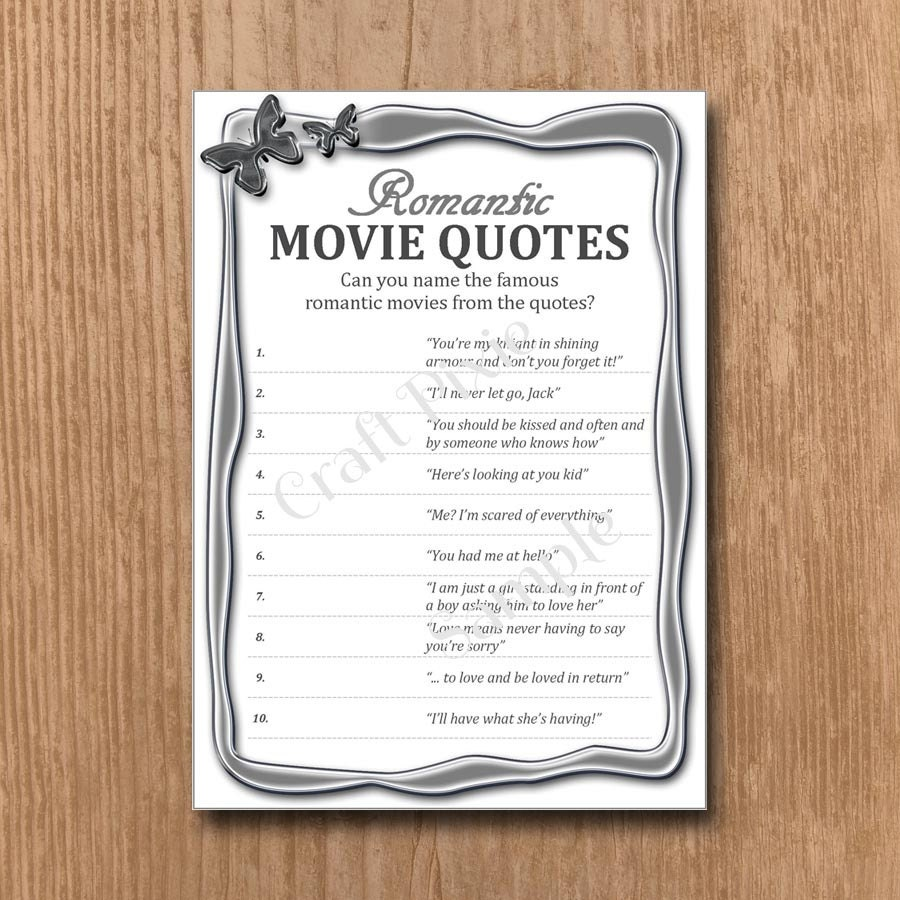 Quotes Quiz Romantic Movie Quotes Quiz Metallic Butterfly Instant Pdf