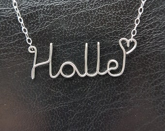 Name Pendant Halle Sterling Silver Custom Wire Word  Necklace Designer in UK