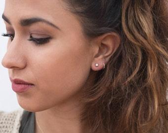 Small zircon earrings, Tiny zircon earrings, Dainty zircon earrings, Chaton earrings, Second hole earrings, Zirconia Stud Earrings