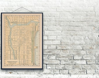 Chicago Illinois 1893 Map Fine Art Print
