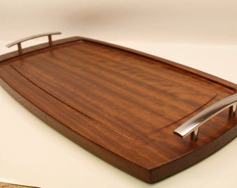 African Teak serving tray  with handles