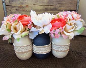 Set of Three Painted Mason Jars - Creme, Navy