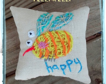 Bee Happy Medium Pillow Hand Embroidered Nade to Order YelliKelli