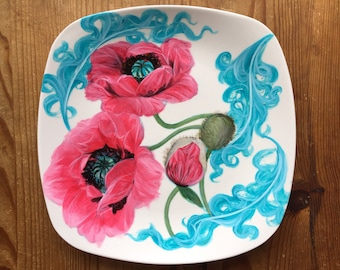 Poppies on hand painted Porcelain