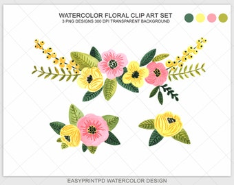 Watercolor Flowers, Watercolor Clip Art, Flower Clip Art, Clip Art, Watercolor, Clipart, Instant download Flowers, Yellow Pink Green