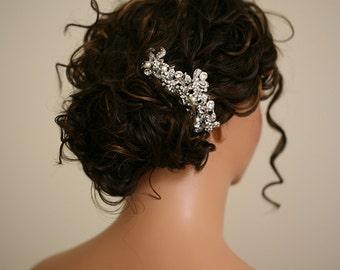 Giorgia - Large Bridal Hair Comb - Crystal Hair Combs Wedding Hair Accessory  - Crystal Pearl Headpiece - Rhinestone Hair Piece