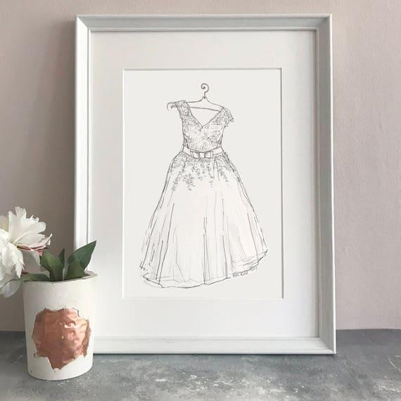 Personalised Wedding Dress Hand Drawn Illustration Wedding