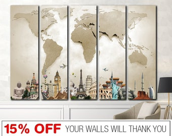 Canvas world map etsy popular items for canvas world map gumiabroncs Gallery
