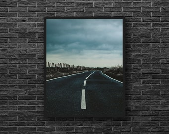 Country Road Photo - Road Photography - Countryside - Sky Photo - Rural Photo - Fence - Nature Photography - Vertical - Road Wall Decor