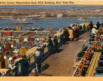 Rockefeller Center Observation Roof RCA Building New York City Vintage Postcard 1957