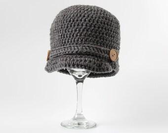 Newsboy Hat, Crochet, Newborn, Infant, Baby, 0-6 Months