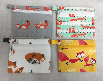 Orange and Red Foxes Zipper Coin Purse, Credit Card Case, Earbud Pouch, iPod Pouch - Choose Color