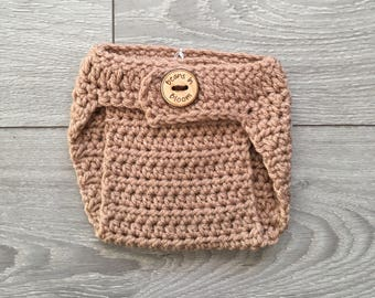Ready to Ship - Adjustable Tan Crochet Diaper Cover with Wooden Button - Newborn Size