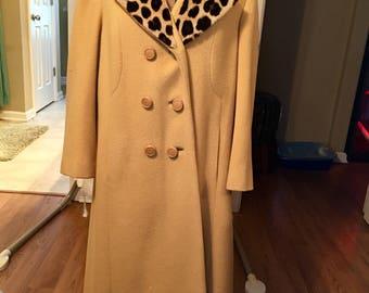 Mustard yellow flair coat with leopard print fur collar