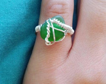 Genuine sea glass wire wrapped ring