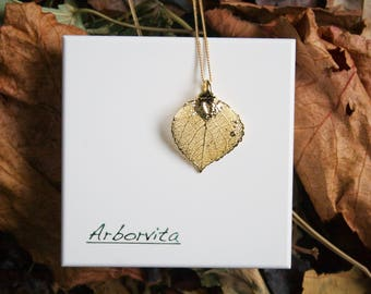 Real Aspen Leaf Gold pendant necklace with gold chain