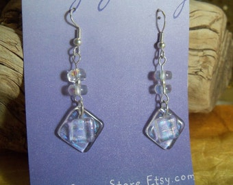 Fused Dichroic Glass Dangle Earrings // Gift for Her // One of a kind Handmade Jewelry