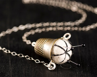 """Handmade Off White with Black Stitching Pincushion Necklace 18"""" w/ Vintage Silver Plated Brass Thimble, Sterling Silver Chain, Sewing Pins"""