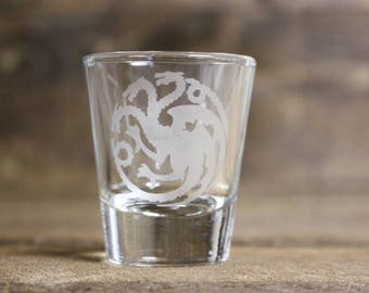 Game of Thrones shot glass - Targaryen shot glass - dragon shot glass - game of thrones gift