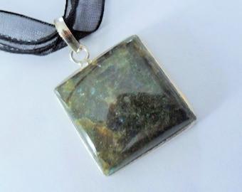 Silver 925 - stone natural 25x25mm square Labradorite pendant
