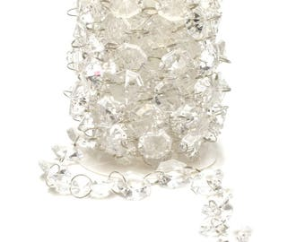 "Acrylic Crystal Garland Hanging Wedding Party Decoration 3/4"" Clear"