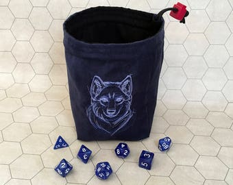 Sketchwork Wolf Tabletop Drawstring Gaming Dice Bag Pouch Dungeons And Dragons Dnd Role-playing Board Game Miniatures Polyhedral Dice Rpg