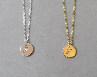 Engraved Initial F Necklace