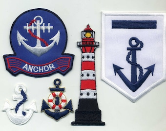 5 badges sailor collection or for other applique anchor, LIGHTHOUSE Dimension: 5 to 11 cm