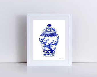 Blue and White China Art Ginger Jar Print 10 Asian Wall Decor Chinese Wall Art Chinoiserie Art Hollywood Regency Decor Preppy Art Pretty Art