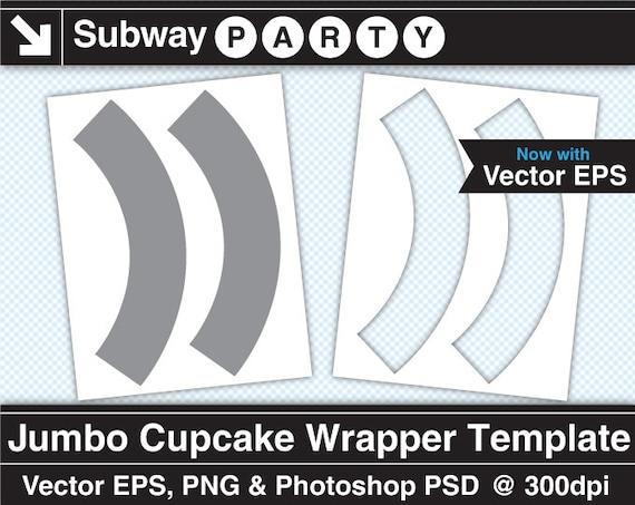 Tamaño Jumbo Cupcake Wrapper plantilla. Vectores EPS