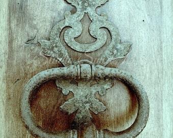 """Door Photography, Rustic Decor, Door Art, Old Door Knocker, Aqua Green Print, French Cottage, Farmhouse Art, Shabby Home, Macro- """"Bienvenu"""""""