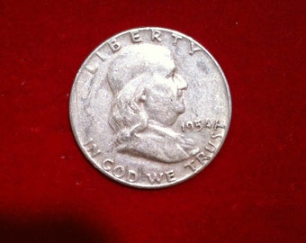 "Vintage Silver Coin Half Dollar ""1954"" Liberty United States Of America,( 10 Coins Available)"