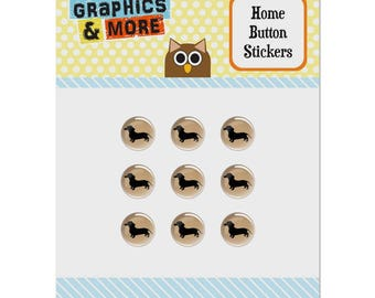 Dachshund wiener dog set of 9 puffy bubble home button stickers fit apple ipod touch, ipad air mini, iphone 5/5c/5s 6/6s 7/7s plus
