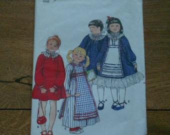 vintage butterick pattern 4140 child girl dress and tabard sz 3 uncut